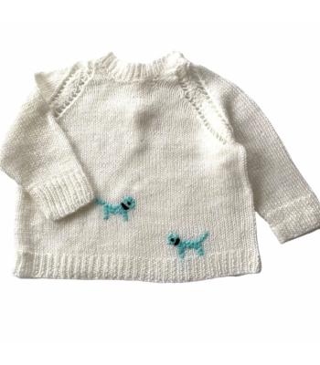 Fehér kisfiú pulóver (68)